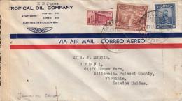 COLOMBIA 1943 - 3 Fach Frankierung Auf Zensur Brief (Jamaica Censor) Gel.v. Columbia > Virginia - Colombia
