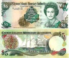 Cayman Islands 5 Dollars p-27 2001 UNC