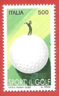 ITALIA REPUBBLICA  MNH - 1988 - SPORT - Il Golf - £ 500 -  S. 1834 - 6. 1946-.. Repubblica