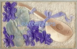 5875 ART ART CELLULOID & CLOTH MANDOLIN AND FLOWER POSTAL POSTCARD - Fine Arts