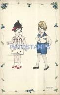 5877 ART ARTE SIGNED E WEBER COUPLE CHILDREN AND FLOWER POSTAL POSTCARD - Other