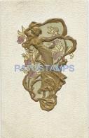 5878 ART ART EMBOSSED WOMAN SENSUAL GOLD AND FLOWER POSTAL POSTCARD - Schone Kunsten