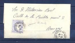 1870 BURGOS, ED. 107, 50 MIL., RARO FECHADOR DE SALAS DE LOS INFANTES,  CARTA CIRCULADA A BURGOS - 1868-70 Gobierno Provisional