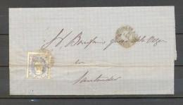 1871 BURGOS, ED. 107, 50 MIL., RARO FECHADOR DE MEDINA DE POMAR,  CARTA CIRCULADA A SANTANDER, LLEGADA - 1868-70 Gobierno Provisional