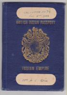 INDES BRITANNIQUES Passeport 1944 BRITISH INDIA Passport � Reisepa�