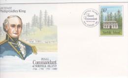Norfolk Island,1987 Penal Commandant,Philip Gidley King, Pre Stamped Envelope FDC - Norfolk Island