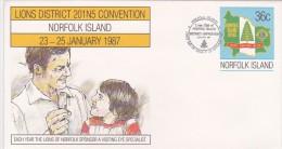 Norfolk Island,1987Lions, Pre Stamped Envelope 019  FDC - Norfolk Island