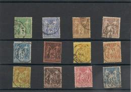 FRANCE  1876/1890 N° Y&T : 75-78-85-88-90-91-92-94-96-97-98-101 Oblitérés Côte : 48,00 € - 1876-1898 Sage (Type II)