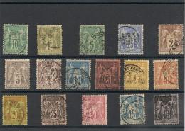 FRANCE  1876/1890 N° Y&T : 65-72-75-78-85-88-90-91-92-94-96-97-98-101-103 Oblitérés Côte : 83,00 € - 1876-1898 Sage (Type II)