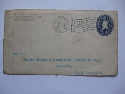 USA 1900 FRONT OF COVER BATTLEBORO FLAG CANCEL TO ADELAIDE SOUTH AUSTRALIA - Covers & Documents