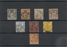 FRANCE  1877/1880 N° Y&T : 83-85-87-88-90-91-92-94 Oblitérés Côte : 40,00 € - 1876-1898 Sage (Type II)
