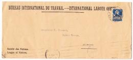 China Shanghai Ankunft Von Brief Aus Genf Bureau International Du Travail 12.1927 - Autres