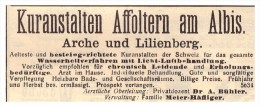 Original Werbung / Reklame - 1911 - Kuranstalt Affoltern Am Albis , Arche Und Lilienberg , Meier-Häflinger !!! - ZH Zürich