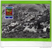 TIBET-  Les Temples Vu D´en Haut -beau Plan --carte  Timbre Tanka-barque- Affranct Liechtenstein - Tibet