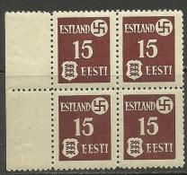 ESTLAND Estonia 1941 Michel 1 Y Tartu Dorpat In 4-block MNH - Besetzungen 1938-45