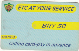 ETHIOPIA - ETC Prepaid Card 50 Birr, Exp.date 01/10/05, Used