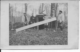 Soldats Français Du 3ème R.A Haches à La Main Devant Une Cagna Dans Les Bois 1 Carte Photo 1914-1918 14-18 Ww1 Wk1 - War, Military