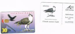 ESTONIA -  EESTI TELEFON (CHIP) - 1997 UCCELLI: FISH EAGLE (PANDION HALIAETUS) DIFFERENT CHIP   - USED° -  RIF. 5153 - Aquile & Rapaci Diurni
