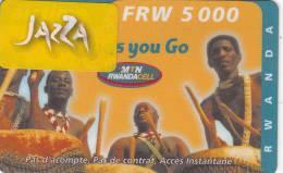 RWANDA - Jazza, MTN/RwandaCell Prepaid Card FRW 5000(plastic), Exp.date 21/09/01,  Used