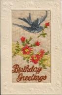 CPA Brodée - BIRTHDAY GREETINGS - Brodées