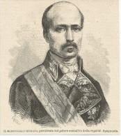 Spagna, 1874, Guerra Civil, Il Maresciallo Serrano Presidente Dell'esecutivo Della Repubblica, Litografia Cm. 13 X 14,5. - Documentos Históricos