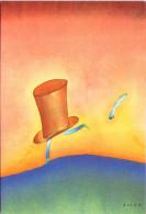 FOLON - Le Chapelier D´Alice - Aquarelle 1972 - Folon