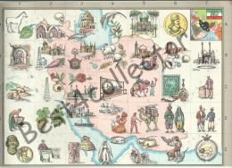 @@@ Iran Map With Historical, Cultural Symbols. 1959 - Cartes
