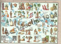 @@@ Oceania Francese, French Oceania Map With Historical, Cultural Symbols. 1959 - Cartes