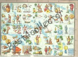 @@@ Oceania USA Map With Historical, Cultural Symbols. 1959 - Cartes