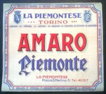 Etichetta - Amaro Piemonte - La Piemontese Torino - Etichette