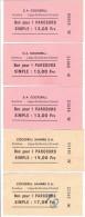 Lot de 5 billets aller-simple LIEGE-CHERTAL - Tickets r�serv�s aux travailleurs de la S.A. COCKERILL
