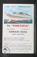 1960 Small/ Pocket Calendar - Grimaldi Siosa - Spain - Venezuela Cruise Ship/ Boat - Calendarios