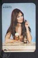 1972 Small/ Pocket Calendar - Spanish Epidor Moritz Beer Advertising - Retro Sexy Brunette Topless Girl - Tamaño Pequeño : 1971-80