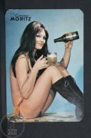 1972 Small/ Pocket Calendar - Spanish Epidor Moritz Beer Advertising - Retro Sexy Brunette Girl - Tamaño Pequeño : 1971-80