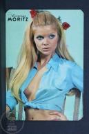 1971 Small/ Pocket Calendar - Spanish Moritz Beer Advertising - Retro Sexy Blonde Girl In Blue Shirt - Tamaño Pequeño : 1971-80