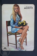 1971 Small/ Pocket Calendar - Spanish Moritz Beer Advertising - Retro Sexy Blonde Girl In Blue Dress - Calendarios
