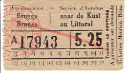 Ticket - Autobusdienst BRUGGE naar de KUST