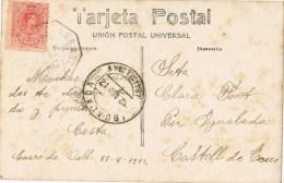 12165  Postal CORRÓ De VALL (Barcelona) 1912, Ambulante Ferrocarril - 1889-1931 Reino: Alfonso XIII