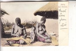 SOUTH AFRICA / SÜDAFRIKA, Ethnic / Völkerkunde, Semi Nude, Making Beer Strainers - Südafrika