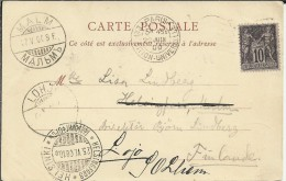 FRANCIA 1900 TP TORRE EIFFEL CON MAT EXPOSITION UNIVERSELLE MAT DE TRANSITO Y LLEGADA A FINLANDIA - 1900 – Paris (France)