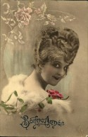 N°387 HHH 118 BONNE ANNEE 1923 FEMME A CHIGNON ET FLEURS ELD  SERIE 5015 HELIO BROM - Nouvel An