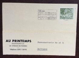 SVIZZERA 1957 - VII FETE ROMANDE DE GYMNASTIQUE LA CHAUX DE FONDS   - ANNULLO SPECIALE A TARGHETTA - CARTOLINA PER TRIES - Manifestazioni