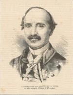 Don Manuel De La Concha, Maresciallo, Morto Alla Battaglia Di Estella Il 27 Giugno 1874, Litografia Cm. 13 X 17. - Documentos Históricos