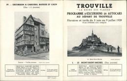 14 - TROUVILLE - DEPLIANT TOURISTIQUE -  Programme Excursions En Autocars - Dépliants Touristiques