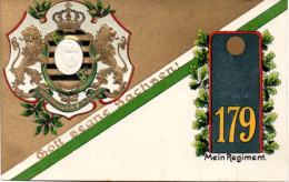 """Pr�gekarte S�chs. Inf.-Regiment 179 """"Gott segne Sachsen"""" als Feldpost gelaufen 4.1016 LEISNIG nach Voigtheide"""