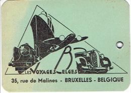 Belle étiquette De Bagages Des VOYAGES BELGES 35 Rue De Malines à BRUXELLES - Hotel Labels