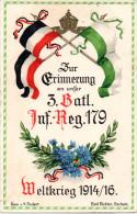 Erinnerungskarte Weltkrieg 1914/16, Inf.-Regiment 179, 3.Batl. als Feldpost gelaufen 15.4.17 nach Glauchau