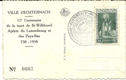 LUXEMBOURG  LUSSEMBURGO  ECHTERNACH Panorama Et La Sure 12° Centenaire De La Mort De St-Willibrord 1938 Carte N°003 - Echternach
