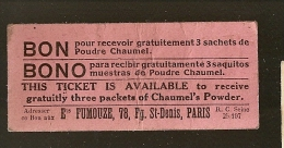 BON POUR Recevoir Gratuitement 3 Sachets De Poudre CHAUMEL Ets FUMOUZE 78 Fg St DENIS PARIS - Monétaires / De Nécessité