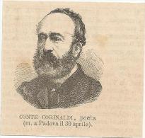 Torreglia, Padova, 30.4.1874, Conte Corinaldi, Poeta, Litografia Cm. 7 X 6,5. - Documents Historiques